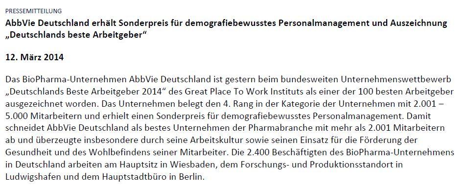 AbbVie Auszeichnung demografiebewussste Personalpolitik