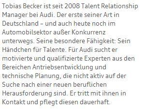 Talente, Talentförderung, Talent Management, Talent Relationship Managment, Audi, managing demographics
