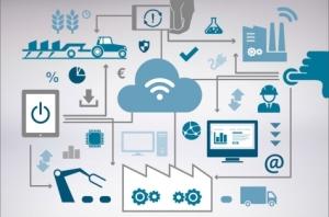 """Das Schlagwort """"Industrie 4.0"""" steht für die intelligente Vernetzung von Produktentwicklung, Produktion, Logistik und Kunden. Bild: Fraunhofer/Bitkom"""